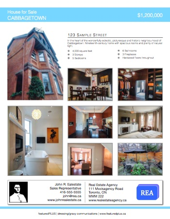 Featuredplus toronto real estate virtual tours plus for Real estate listing sheet template